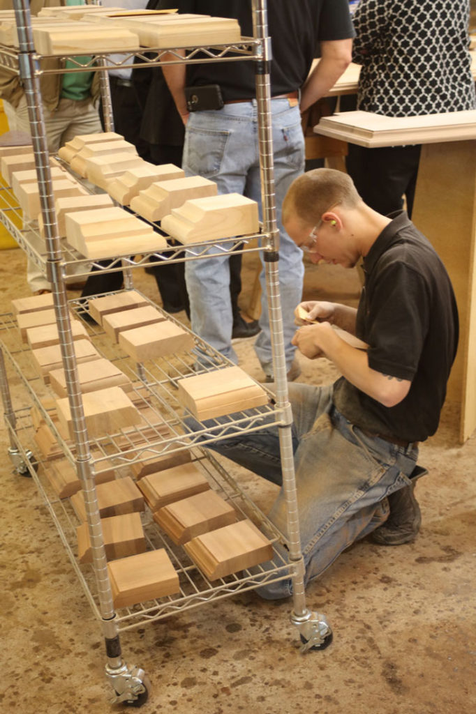 Inspecting a batch of wood countertop samples
