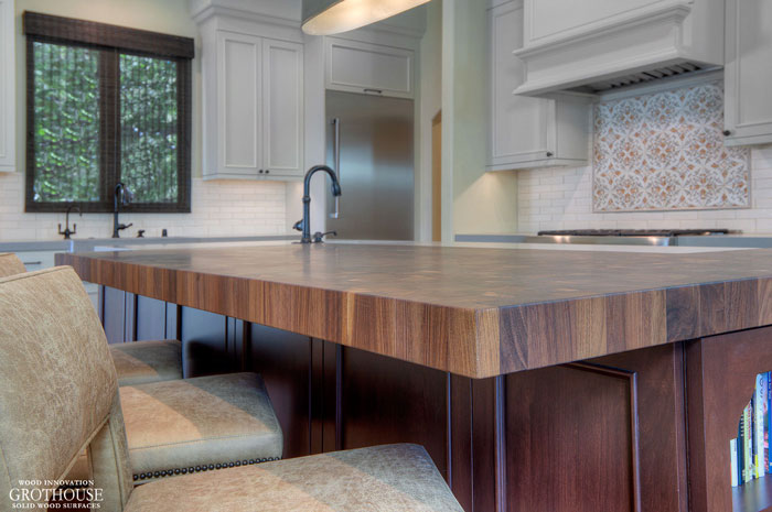 Walnut Butcher Block Kitchen Bar Top Roundover Edge Profile in Los Gatos, California