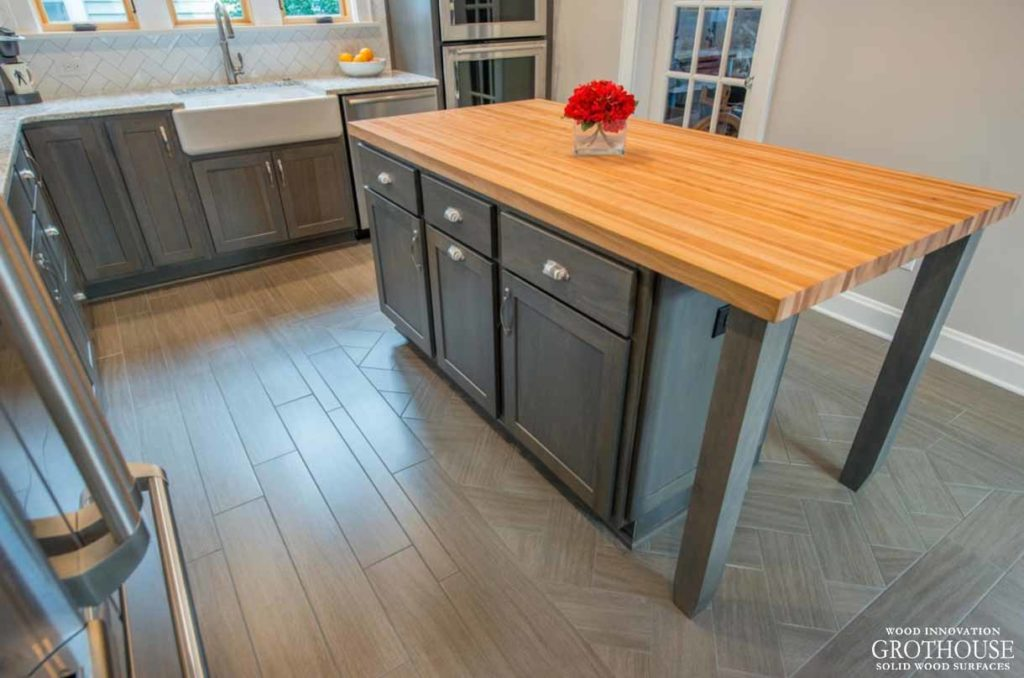 American Beech Wood Countertop for Narrow Kitchen Island Designed by J.S. Brown & Co.