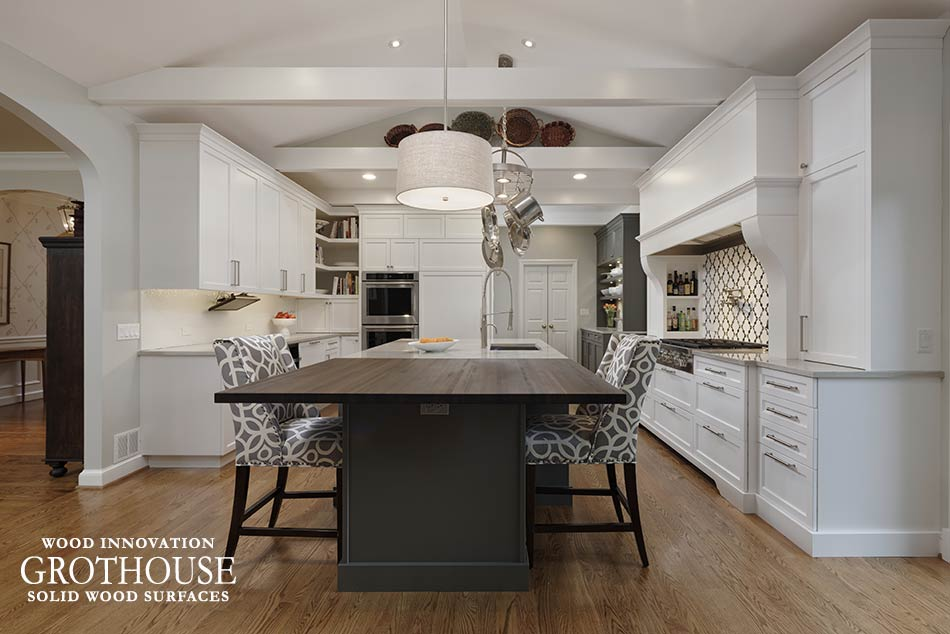 Eat-In Kitchens with Custom Wood Countertops provide the perfect place for friends and family to gather