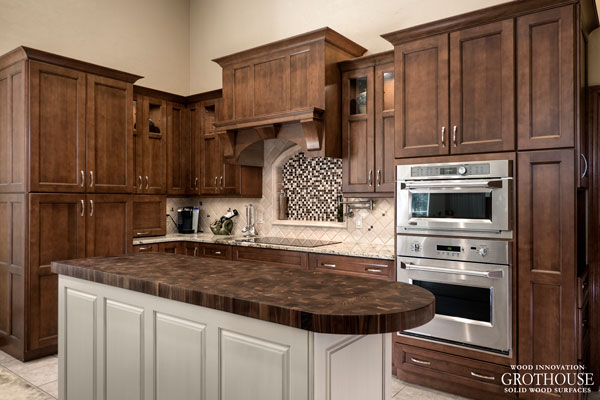 Walnut Butcher Block Kitchen Island Tops designed by Haile Kitchen and Bath for a transitional kitchen