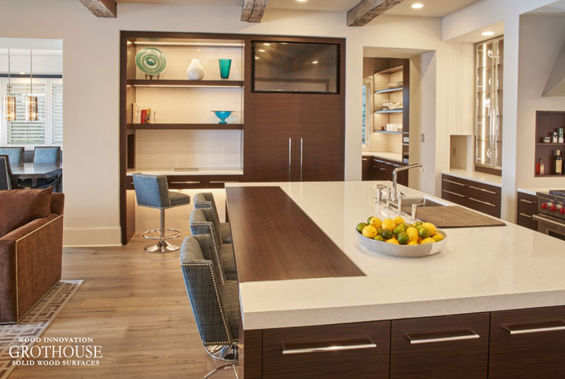 Custom Wenge Countertop for a Seating Area at a Large Kitchen Island in Minneapolis, MN