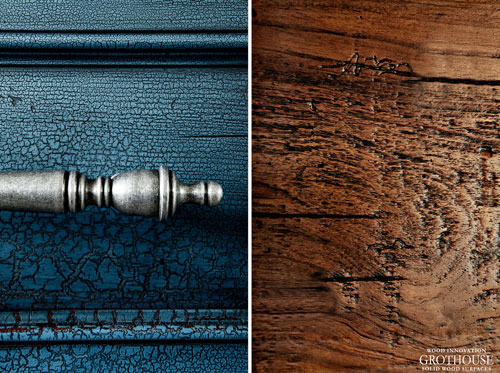 Blue Designs featuring Wood Countertops to add warmth to the cool tone of blue