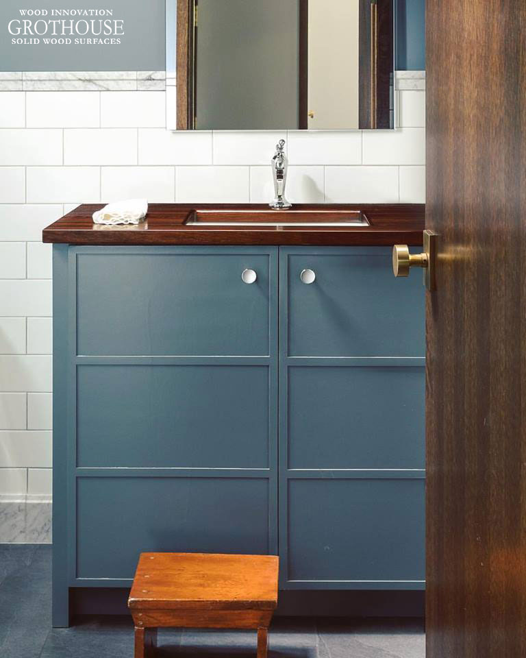 Blue Powder Room Vanity with Peruvian Walnut Countertop