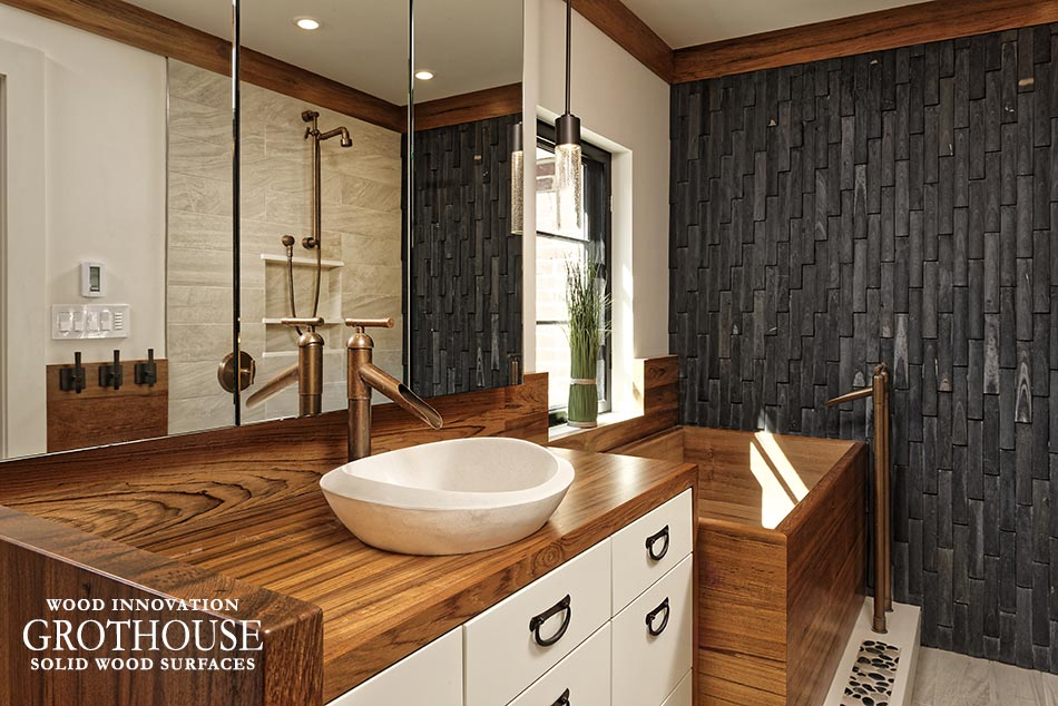 Wood Bath Surround designed for an Asian-Inspired style master bathroom with white cabinetry