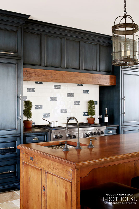Blue Traditional Kitchen with Cherry Countertop for the kitchen island