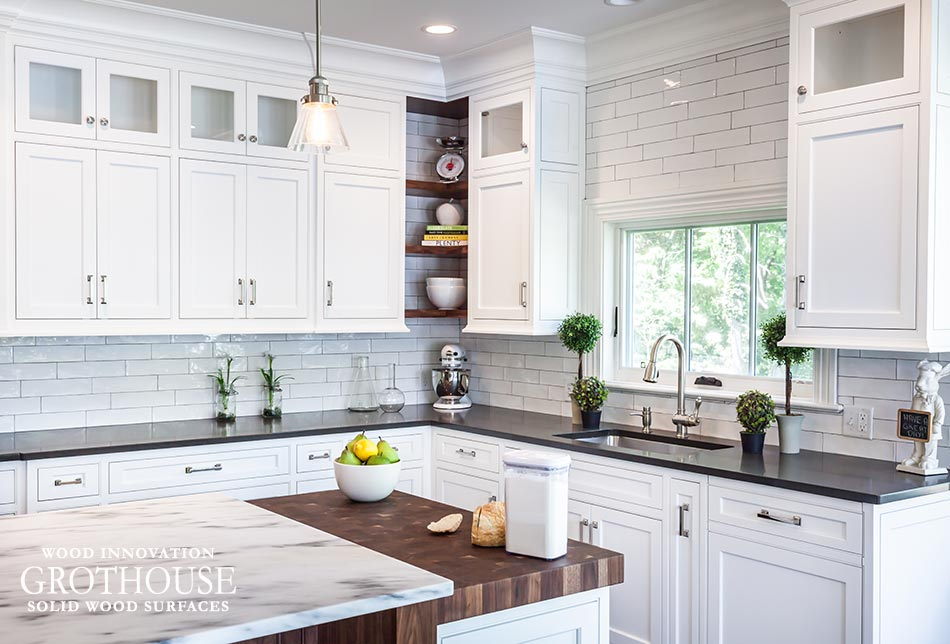 Countertop Materials in a Kitchen Renovation include a Walnut Butcher Block and Marble