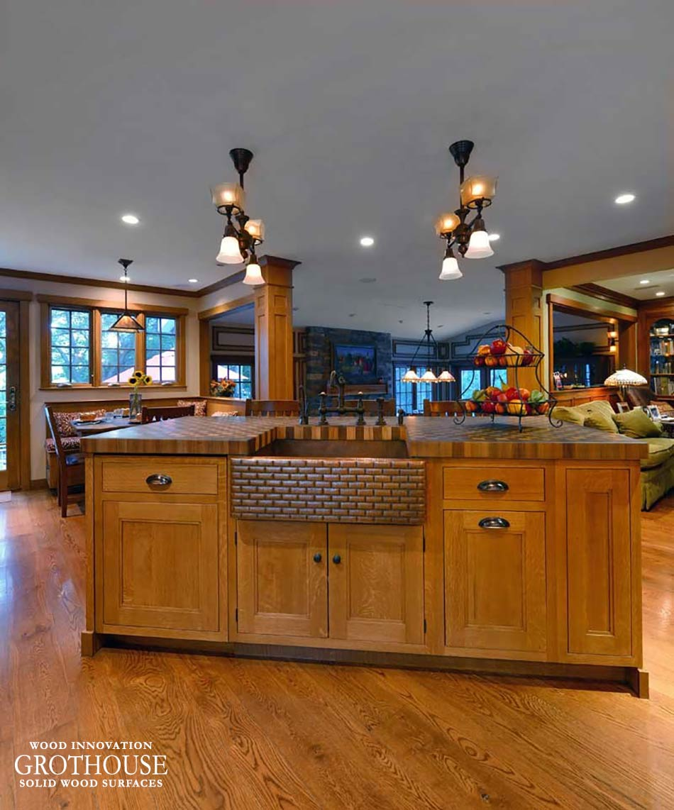 Countertop Design Trend Walnut and Cherry Checkerboard Butcher Block with Apron Sink