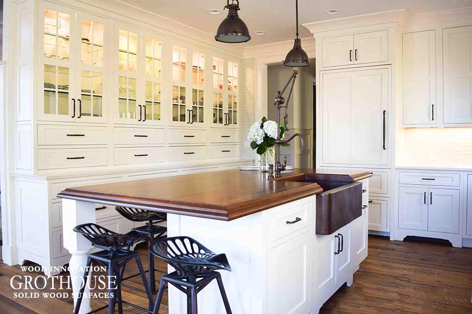 Countertop Design Trend Cherry Wood Countertop with Copper Apron Sink in Farmhouse Traditional Style Kitchen