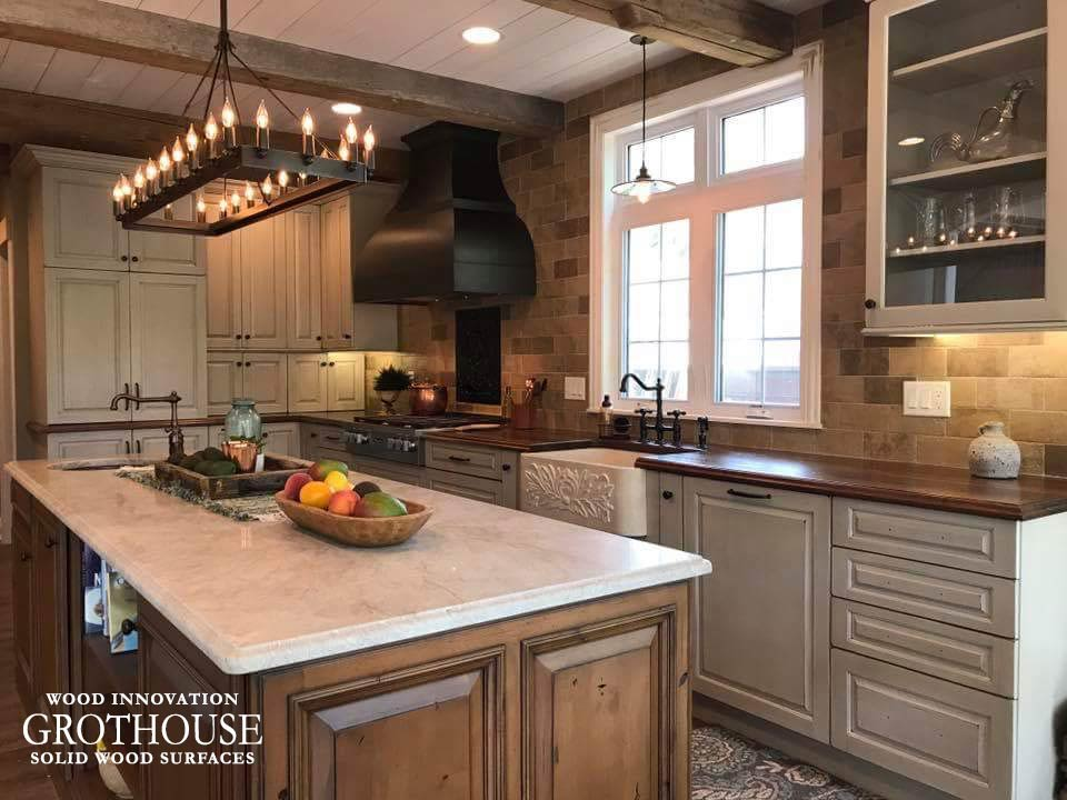 Countertop Design Trend Walnut Wood Counters with Apron Sink in Traditional Style Kitchen