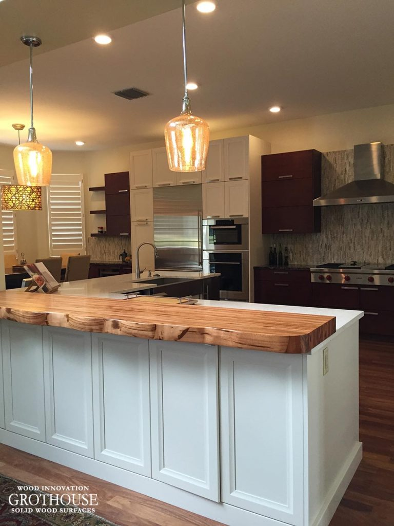Tigerwood Faux Live Edge Countertop for Raised Kitchen Island Bar Seating