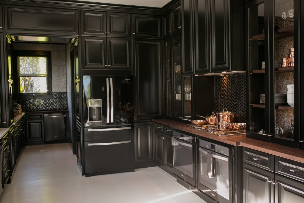 Black Kitchens with Wood Countertops Design by Steven Miller for House Beautiful Kitchen of the Year 2014