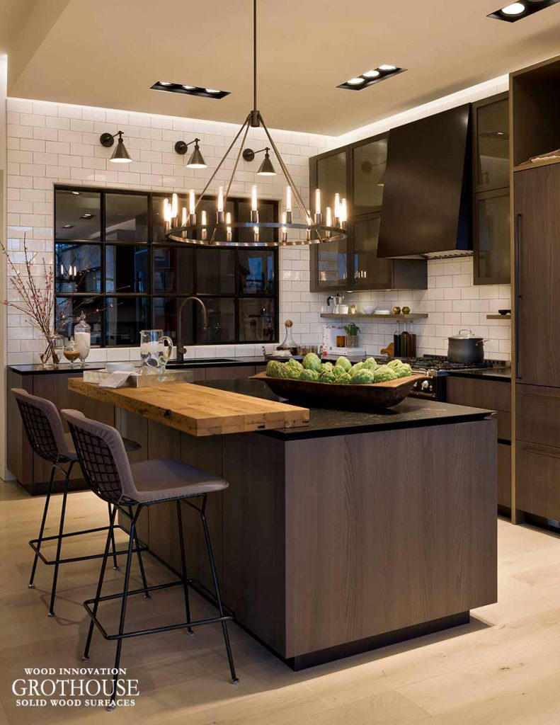 Black Kitchen with Reclaimed Wood Bar Top Subway Tile Backsplash Black Fixtures