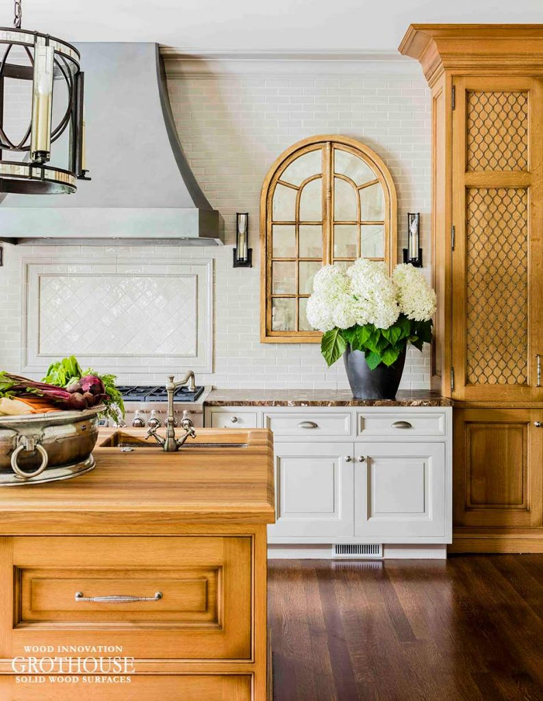 Romantic Kitchen with a White Oak Wood Countertop Design by Venegas and Company, Boston