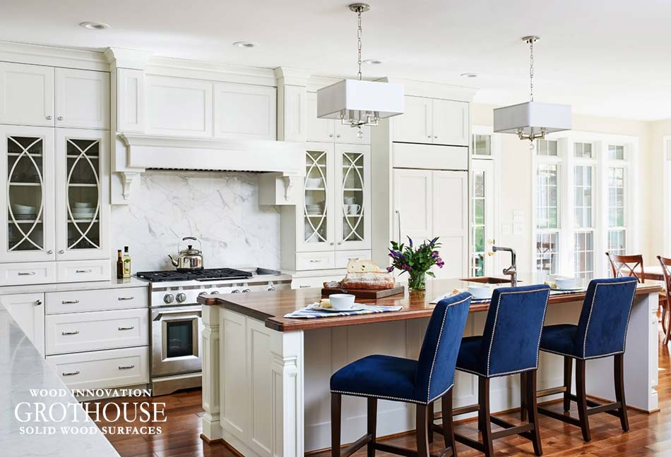 Romantic Kitchen Designs with Wood Countertops by Jenifer Bouchard of Stuart Kitchens