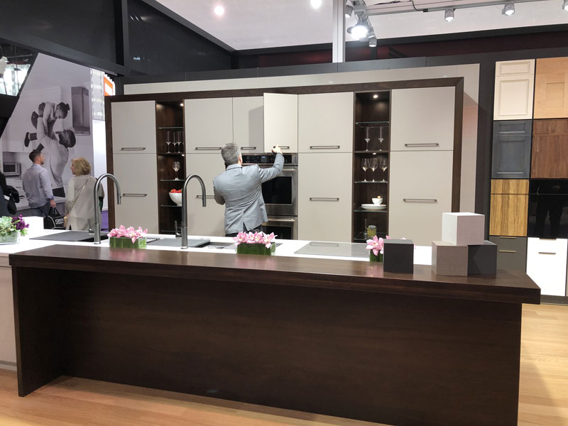 Grothouse Walnut Wood Countertops at KBIS 2019 in Harmoni Kitchens booth