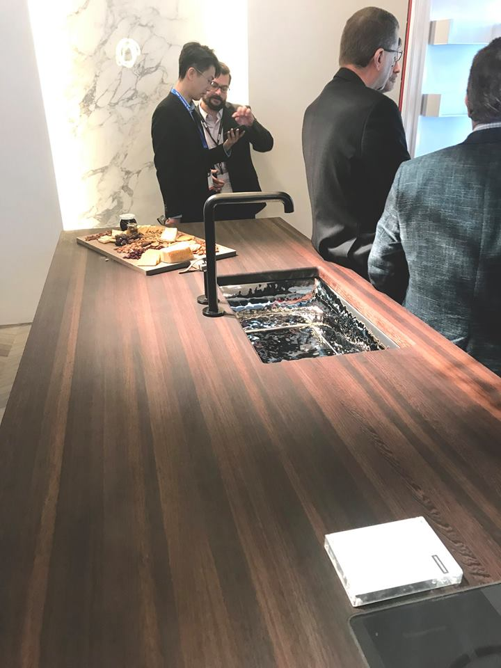Wenge Countertop with Stove top at KBIS 2019 in Monogram Booth