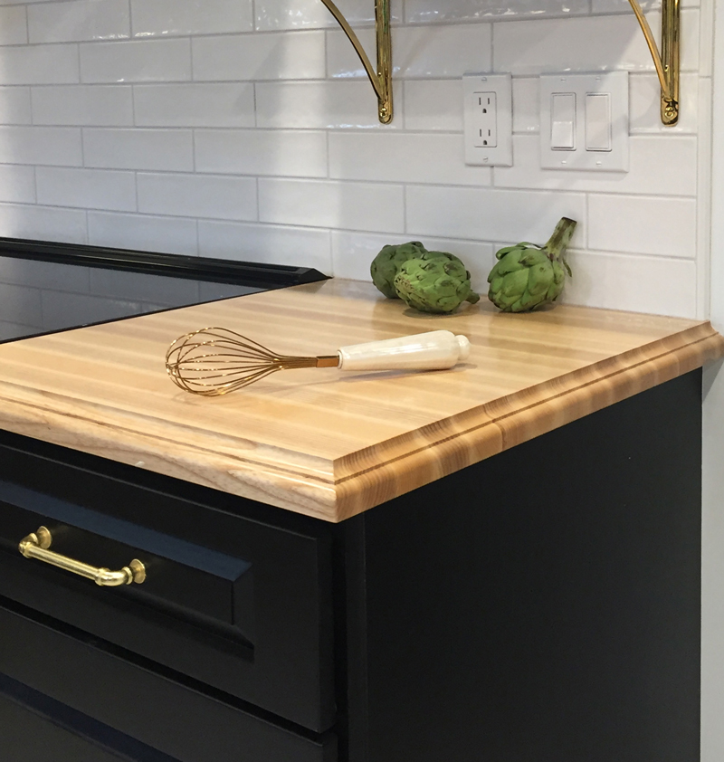 Classical Small Bead and Cove Edge Profile on Ash Wood Countertop