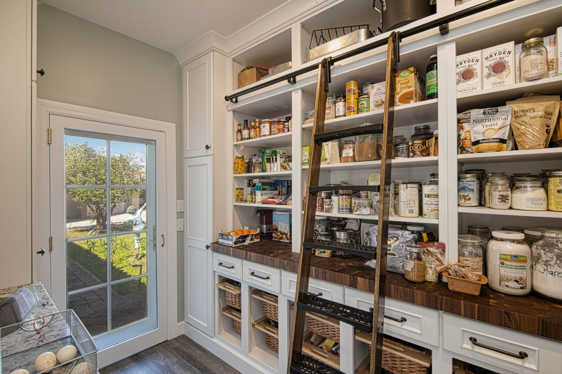 Modern Farmhouse Kitchen Pantry with Walnut Butcher Block