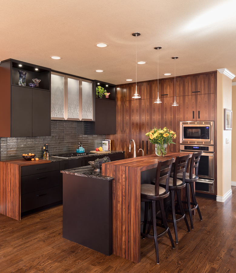 Bolivian Rosewood Pastore waterfall countertops for a modern kitchen island