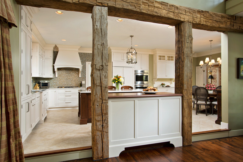 Walnut Countertop Room Divider designed for a traditional kitchen and living room area
