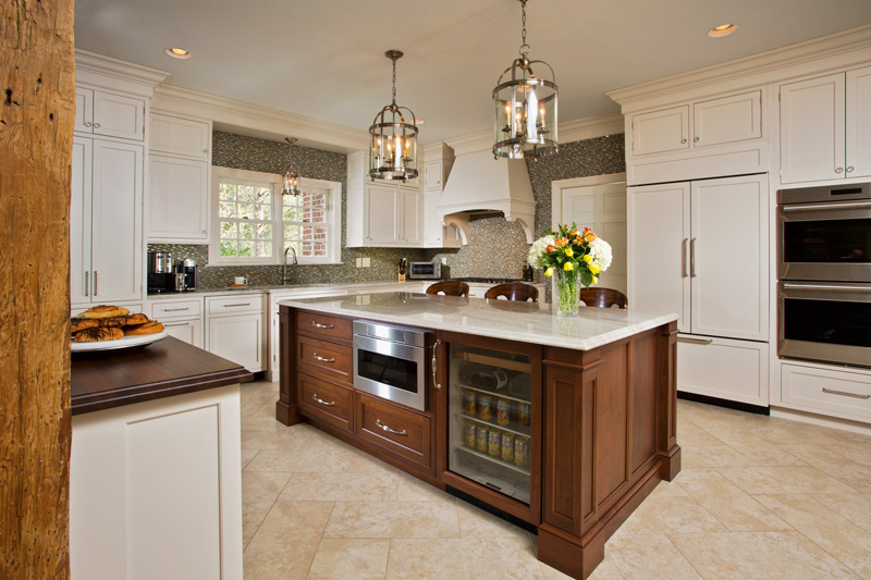 Walnut Countertop Complements the Wood Kitchen Island