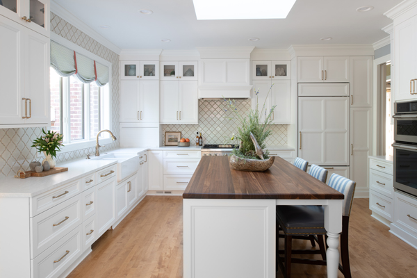 Walnut Island Countertop for a White Kitchen design by Claire Teunissen of Mingle Design Studio