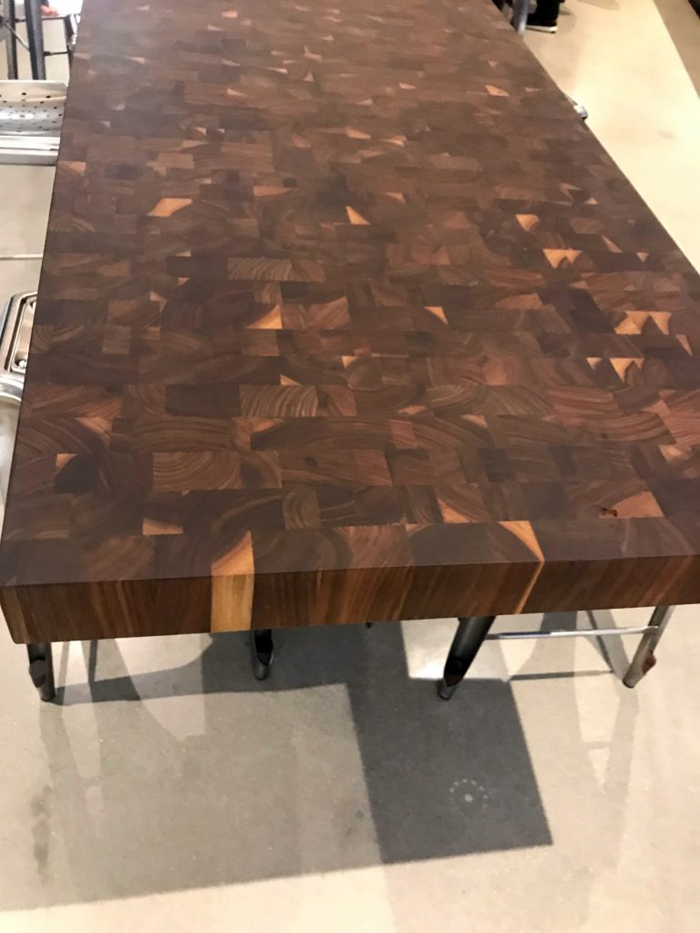 Walnut End Grain Butcher Block Tops for Industrial Tables in the Aramark Global Headquarters Building