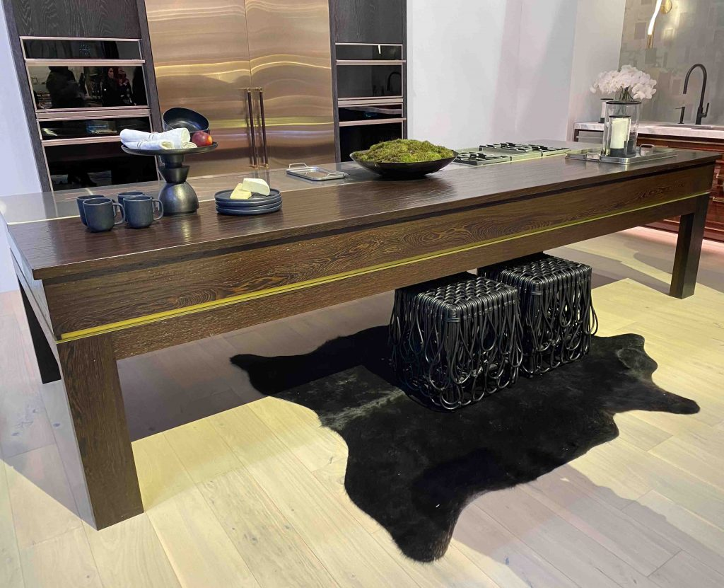 Grothouse Wood and Metal Table Design by Richard Anuszkiewicz for Monogram's Booth at KBIS 2020