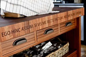 Laser Engraved wood countertop by Tyler Florence for House Beautiful Kitchen of the Year
