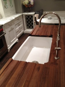 Walnut Wood Countertop with Sink and Drainboard