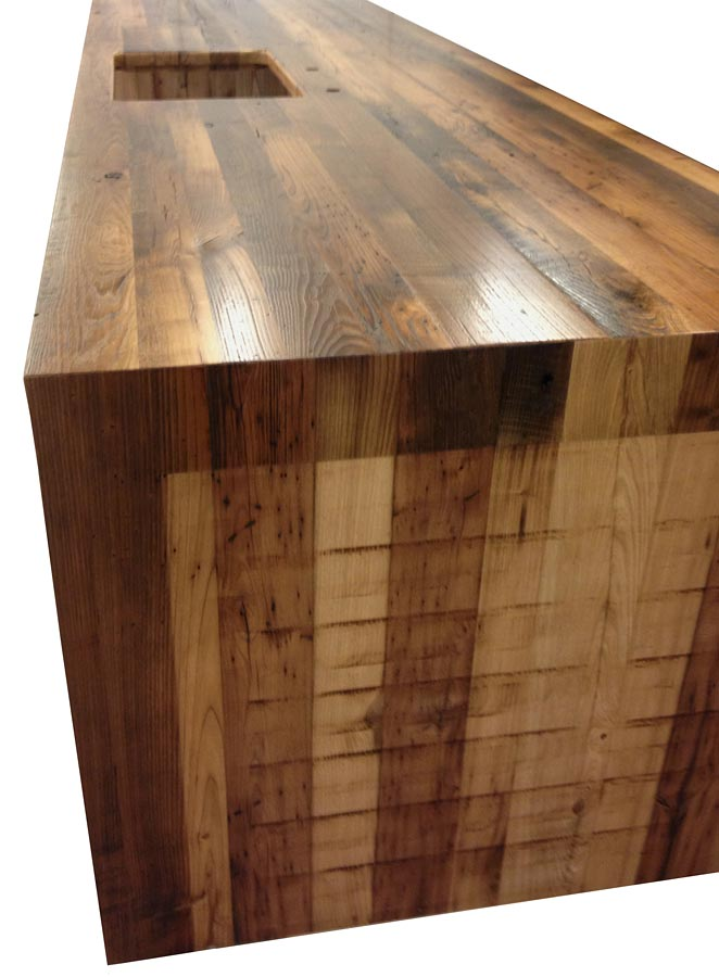 Reclaimed Chestnut Pastore Waterfall Counter by KDW HOME Kitchen Designworks