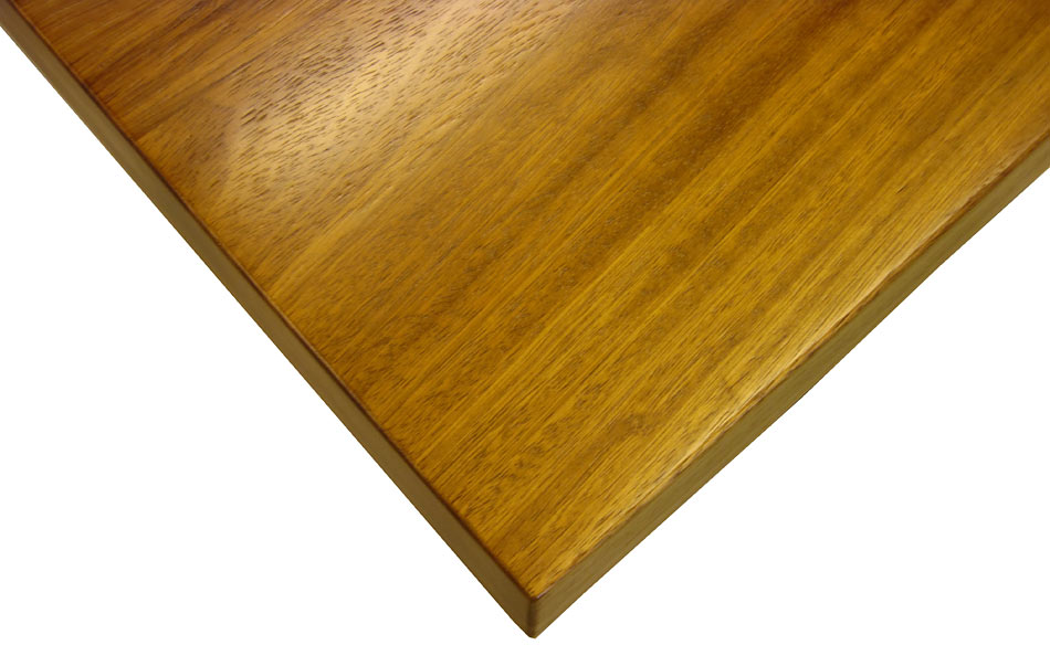 Iroko wood counter made in flat grain construction