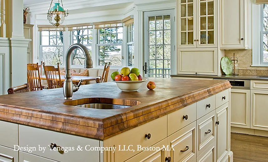 Teak Butcher Block Countertop design by Venegas and Company