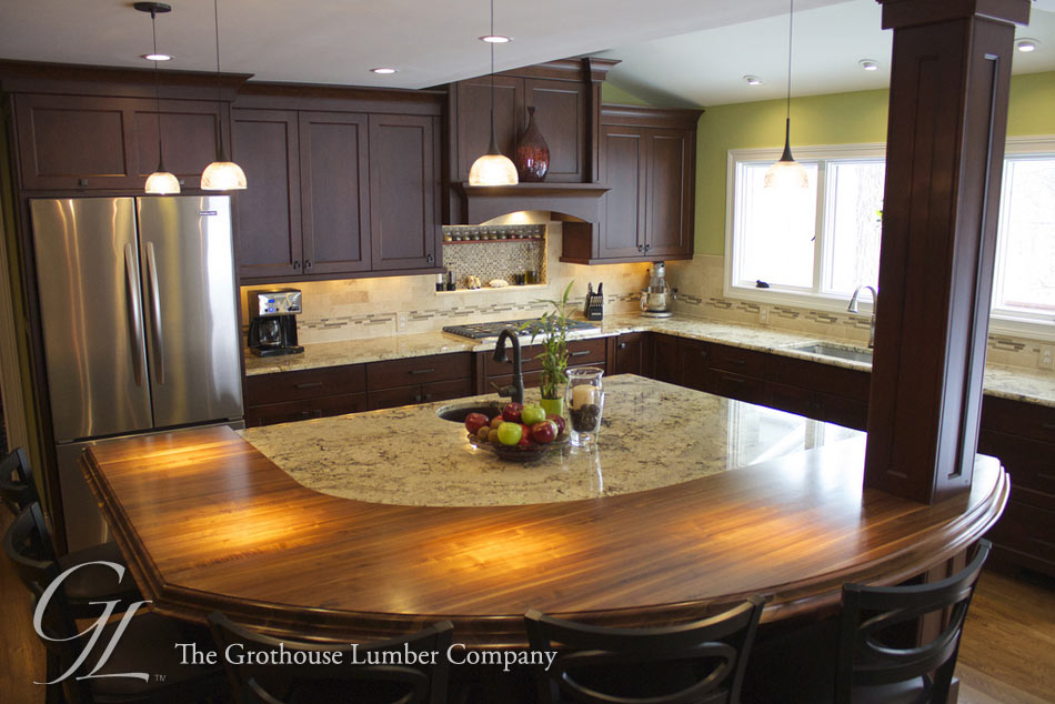Walnut Wood Countertop Arcs