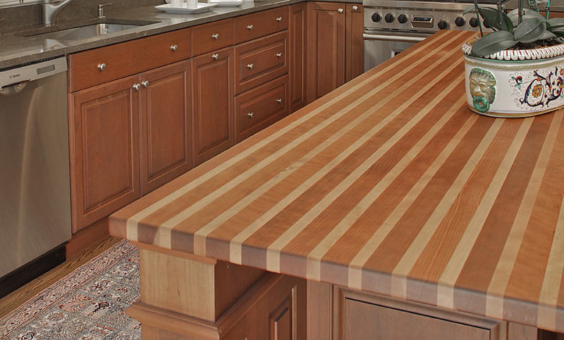 Grothouse Beech Wood Countertops with Striped Pattern