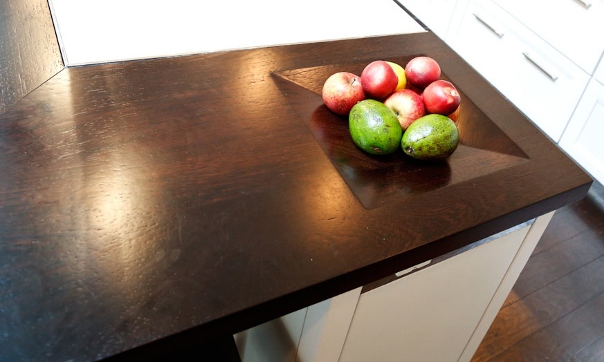 Wood Countertop Integrated Bowl by Grothouse used for fruit