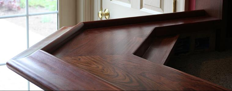Wood Bar Top with Chicago Rail