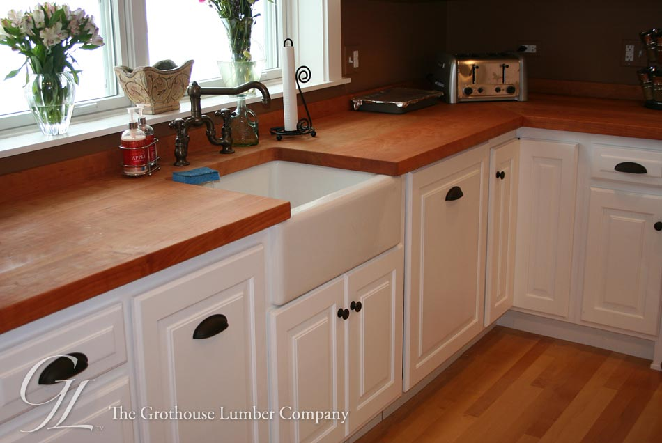 Flat Grain Cherry Kitchen Countertops