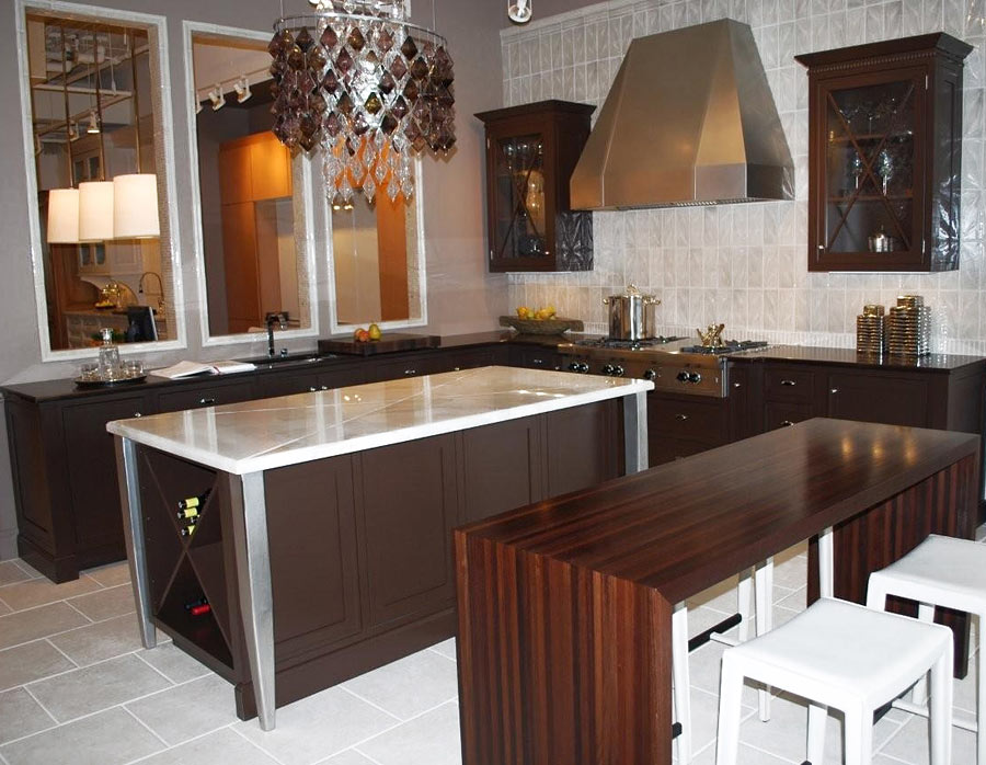 Dark Wood Countertop in a transitional kitchen