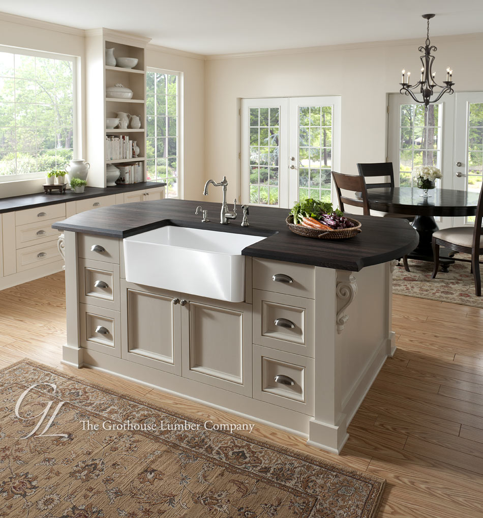 Dark Wood Countertops in a traditional kitchen