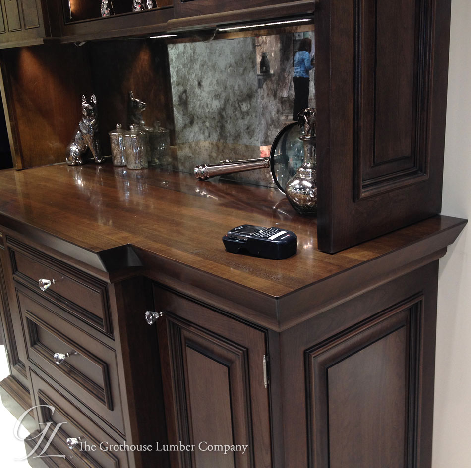Custom Stained Wood Countertops with Glaze to match cabinetry