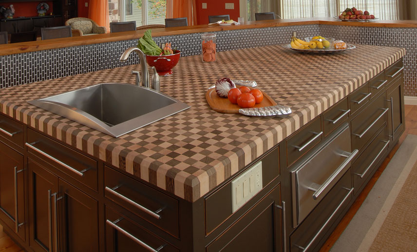 Checkerboard Butcher Blocks Used For Kitchen Island Countertops
