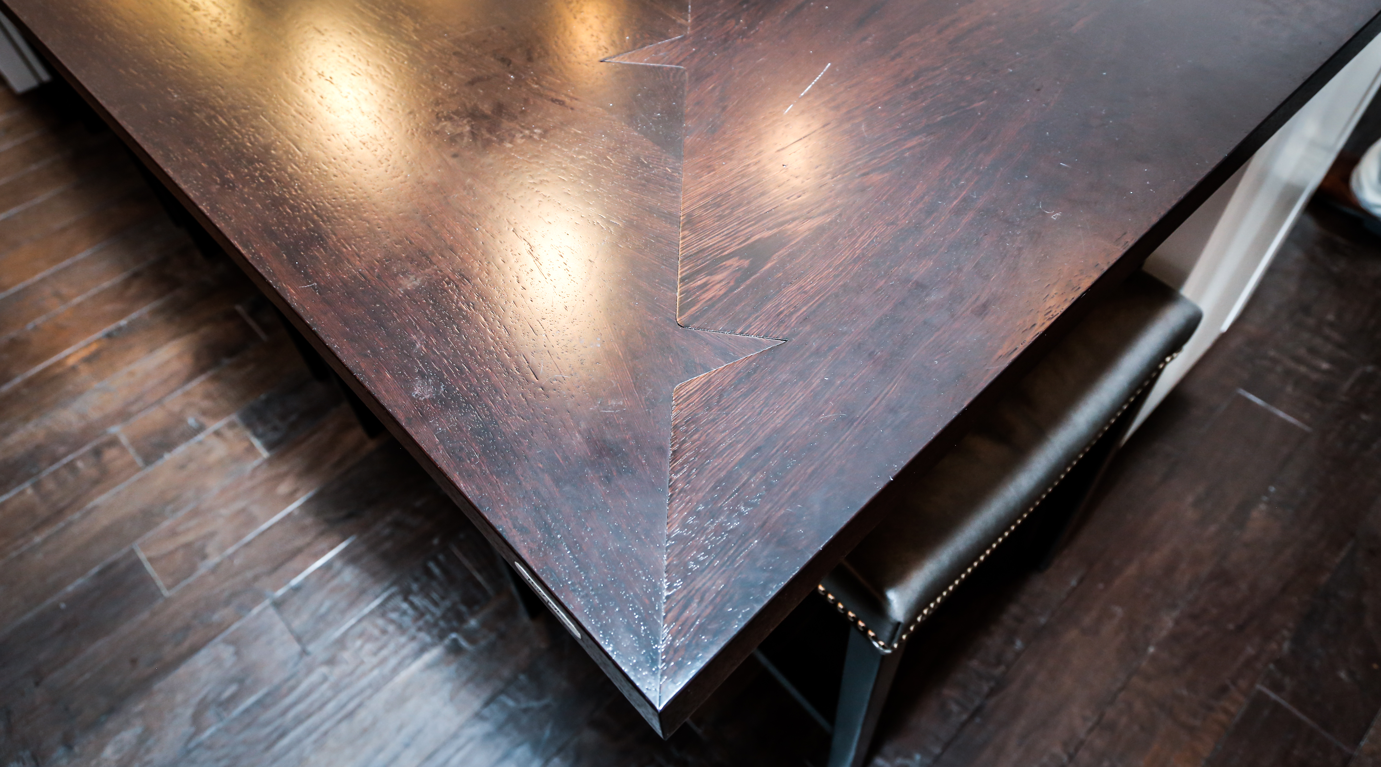 Wood Countertop Shark Tooth Miter Joints by Grothouse