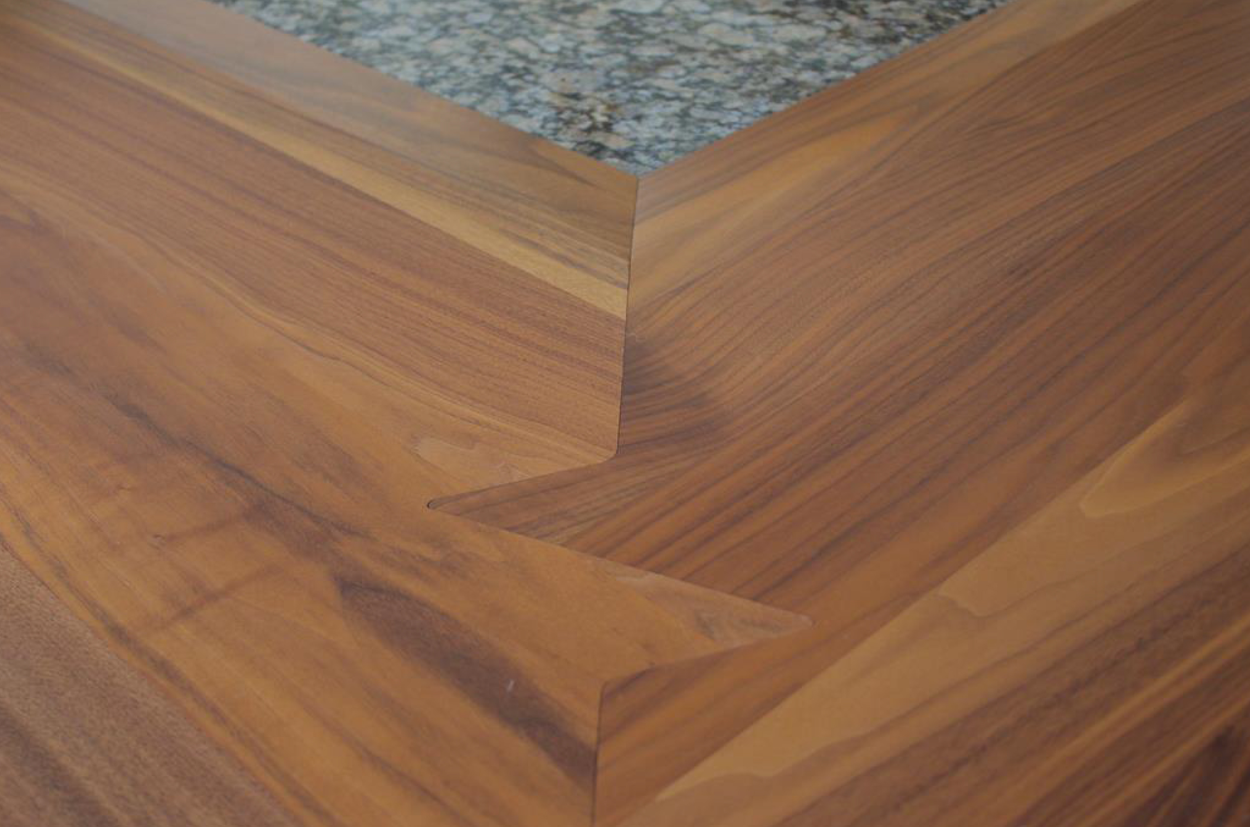 Walnut Wood Countertop with Shark Tooth Miter Joint