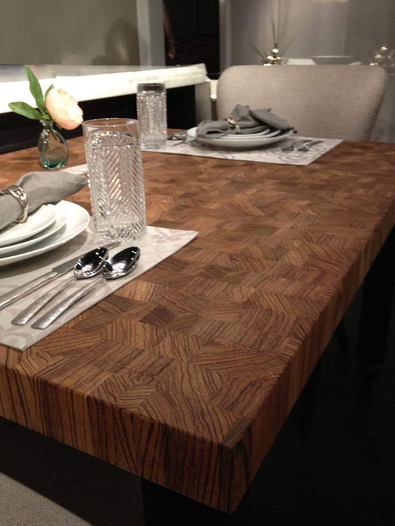 Zebrawood Butcher Block Table Top