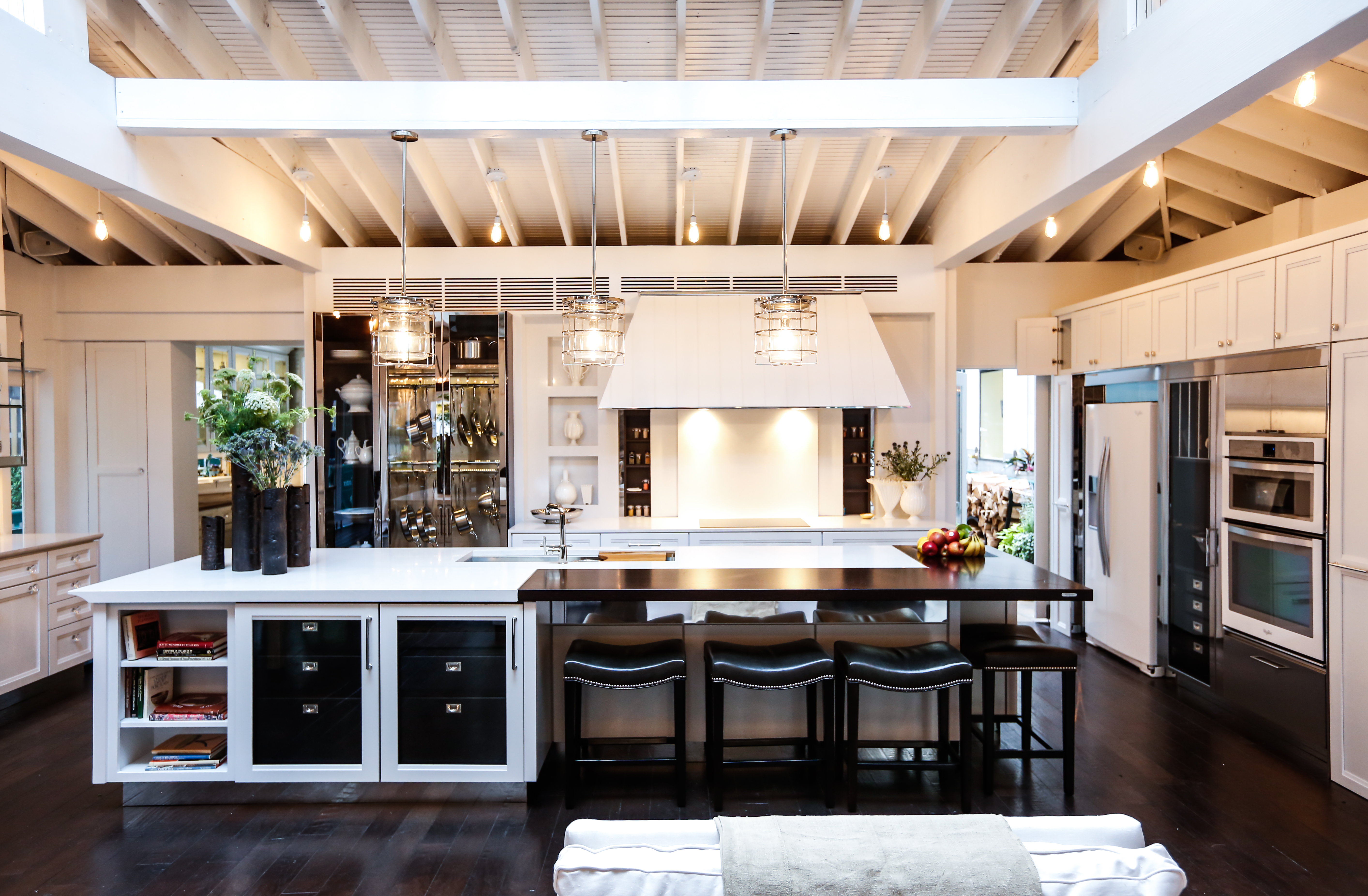 Wenge Wood Countertops with White Cabinetry