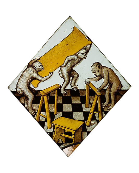 Art depicting Three Apes Assembling a Trestle Table
