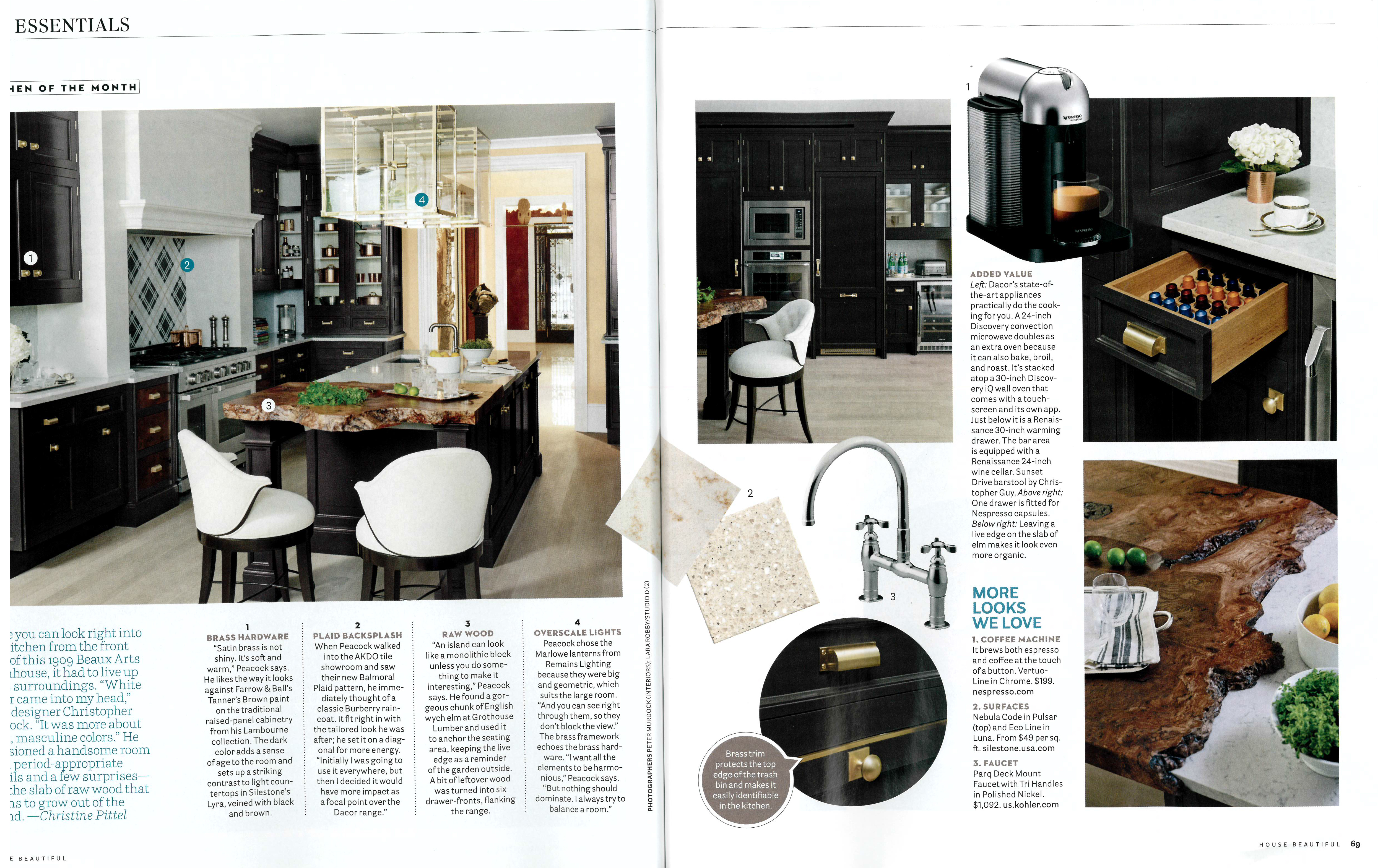 Kitchen designed by Christopher Peacock featured in the September 2015 House Beautiful Magazine
