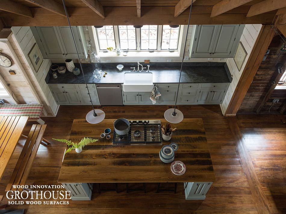 Reclaimed Wood Kitchen Countertops with Cooktop Cutouts